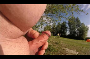 Flashing huge cock in public
