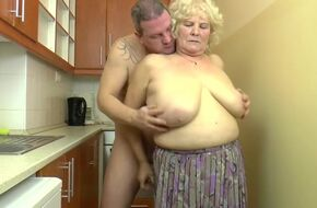 Granny fucked in kitchen